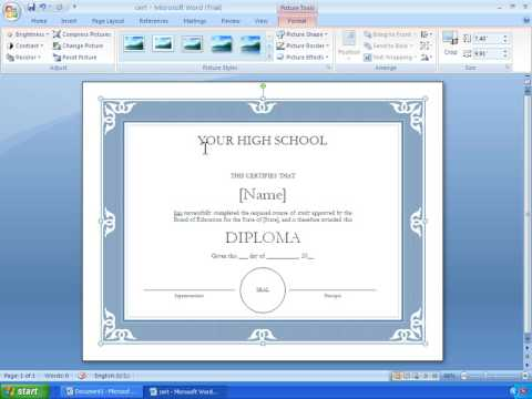 Word 2007 Tutorial 17 - Making A Certificate With A Template