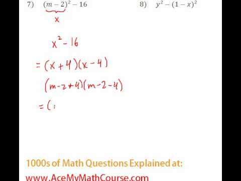 Polynomials - Factoring Completely #7-8