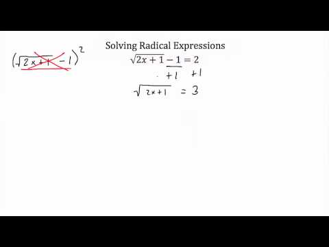 Solving Radical Expressions