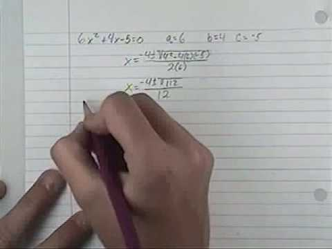Solving using the Quadratic exuation
