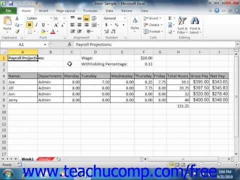Excel 2010 Tutorial The Workbook Window Microsoft Training Lesson 1.11