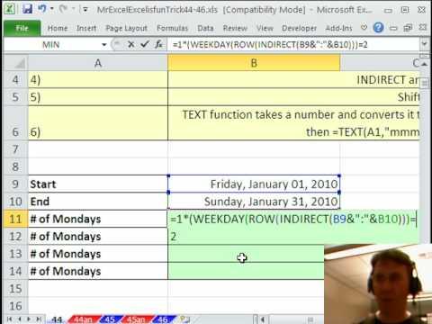 Mr Excel & excelisfun Trick 44: Count Mondays Between 2 Dates WEEKDAY or TEXT?