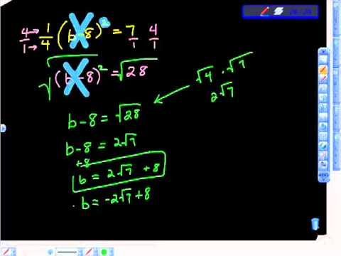 Solving Quadratics Square Roots Multiple Steps