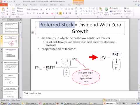 Excel Finance Class 62: Preferred Stock Valuation as A Perpetuity