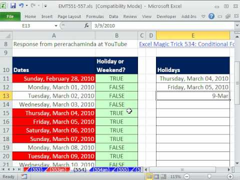 Excel Magic Trick 554: Conditional Formatting for Weekends and Holidays  Better than EMT 534