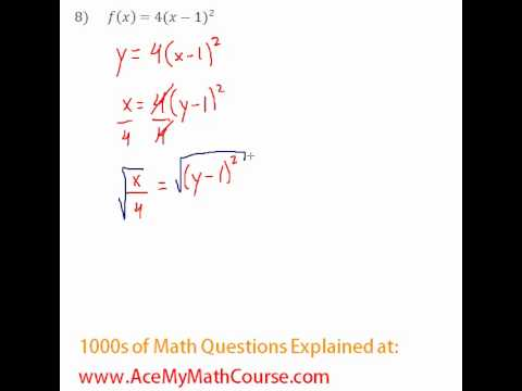Functions - Finding the Inverse Question #8