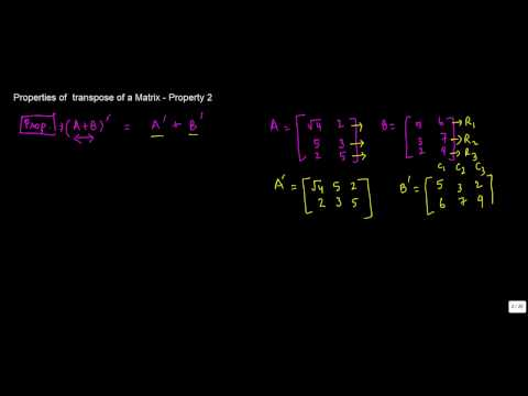 882. Properties of  transpose of a Matrix   Property 2