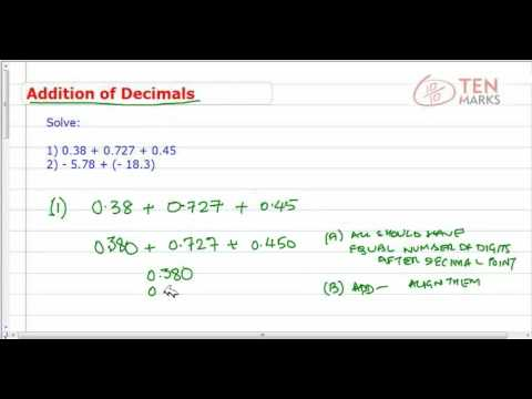 Addition of Decimals