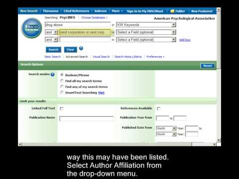 PsycINFO on EBSCO: Using the Author Affiliation field
