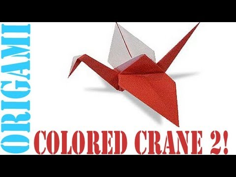 Origami Daily - 060: Double Coloured Tsuru (Japanese Peace Crane) Version 2 - TCGames [HD]