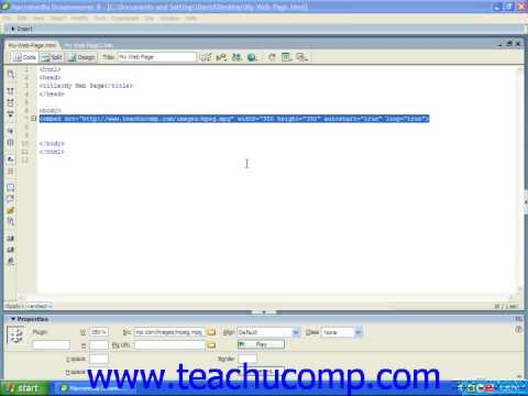 HTML Tutorial Embedding Video and Audio Files Training Lesson 14.3