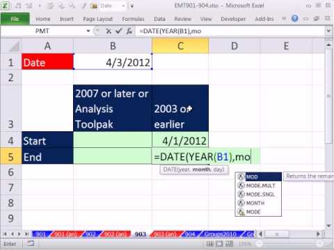 Excel Magic Trick 903: Last Of Month & First Of Month Using EOMONTH or Excel 2003 Functions