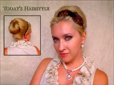 60s Elegant hairstyles for long hair Retro vintage bridesmaid wedding updo events simple bun