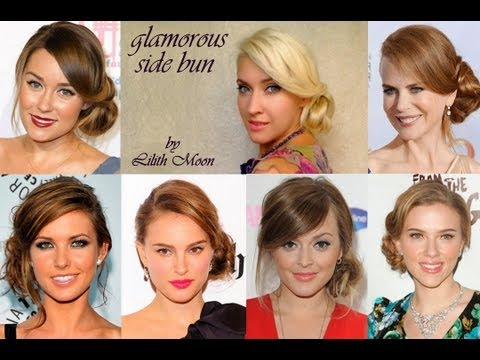 Side bun wedding hairstyle for long hair Perfect curly updo Celebrity picture day hairdo