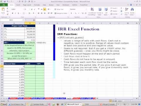 Excel Finance Class 73: Investment Criteria:  Internal Rate Of Return IRR Function Plot Chart