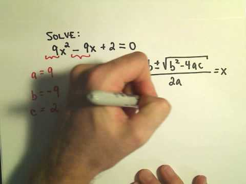 Solving Quadratic Equations using the Quadratic Formula - Example 1