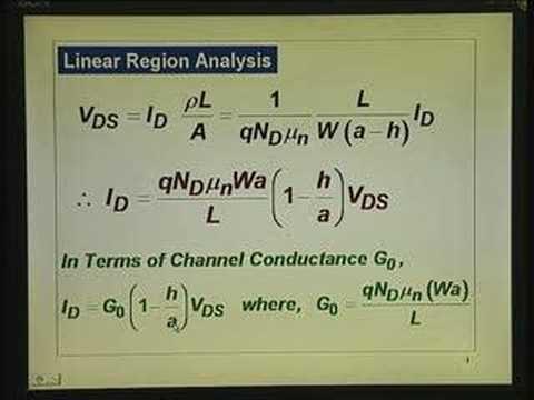 Lecture 20 - MESFET Operation & I-V Characteristics