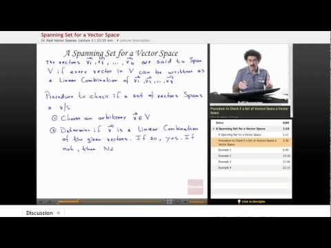 Linear Algebra: Spanning Set for Vector Space