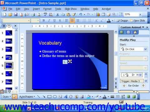 PowerPoint 2003 Tutorial Animating Multimedia Playback Microsoft Training Lesson 11.3