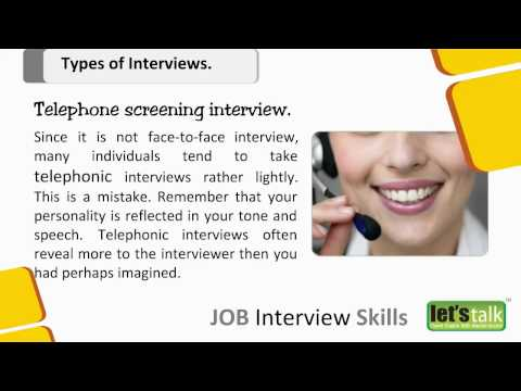 Interview skills training part 2 - Types of interviews ( www.letstalk.co.in)