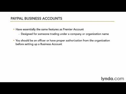 The different PayPal account options | lynda.com overview