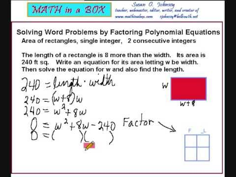 Solving Word Problems by Factoring Polynomials - area of a rectangle