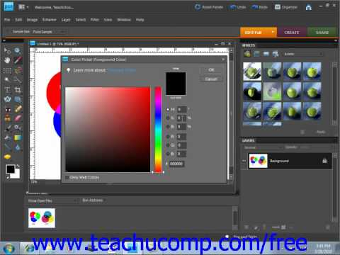 Photoshop Elements . 0 Tutorial Using the Color Picker Adobe Training Lesson 5.5
