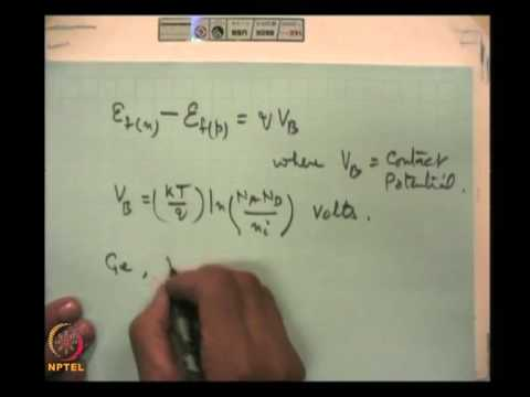 Mod-01 Lec-02 p-n Junction/Diode(Contd.)