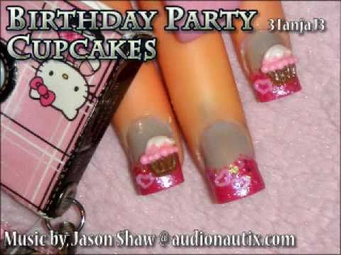 Sweets: *Birthday Party Cupcakes* 3D Acrylic Nail Art Design Tutorial