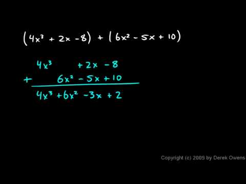 Prealgebra 10.2b - Adding and Subtracting Polynomials