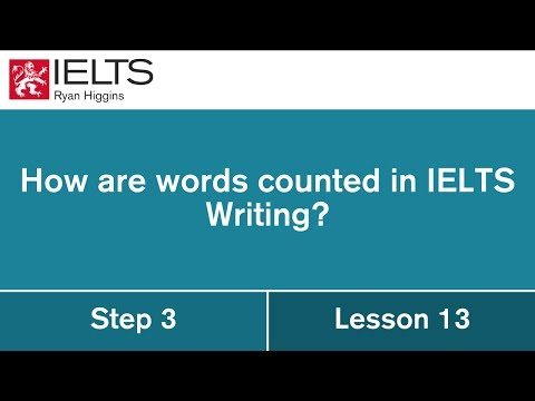 How are words counted in the written module of the IELTS exam?