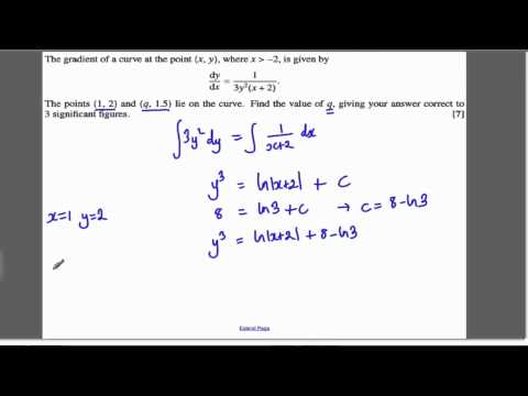 Core 4 OCR June 2011 Q7 - Differential Equations (10)