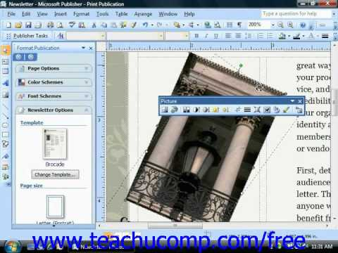 Publisher 2003 Tutorial Rotating and Flipping Objects XP 2007 Microsoft Training Lesson 3.7