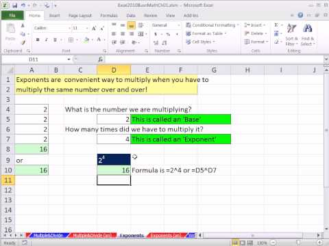 Excel 2010 Business Math 14: Exponents in Excel Formulas and Formatting