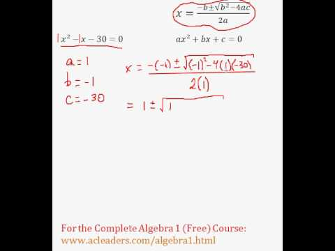 (Algebra 1) Quadratics - Quadratic Formula Pt. 4