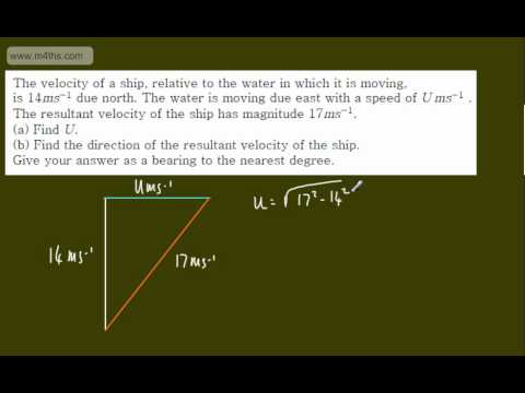 (9) M1 Exam Questions - Vectors - Resultant Velocity and bearings