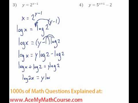 Exponents & Logs - Find the Inverse of Exponential Functions #3-4