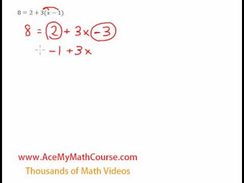 Multi-Step Equation (Distributive Property) - Question #3
