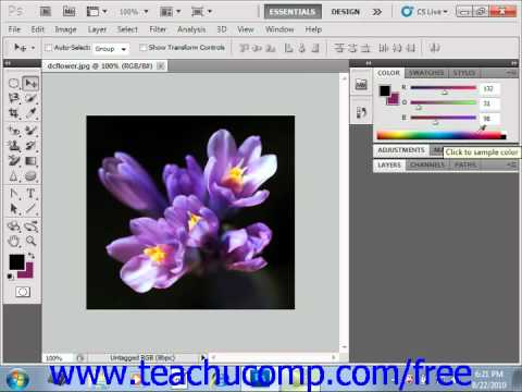 Photoshop CS5 Tutorial Selecting Colors with the Color Panel Adobe Training Lesson 4.7