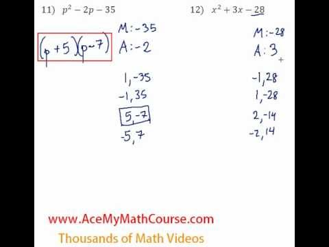 Polynomials - Factoring Trinomials Question #12