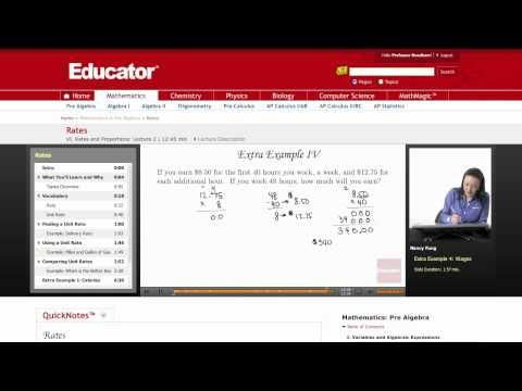 Pre Algebra: Rates