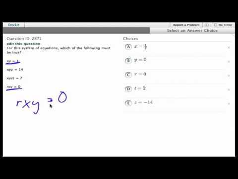Grockit SAT Math - Multiple Choice: Question 2871