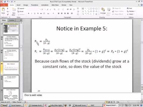 Excel Finance Class 65: Calculate Stock Price at Time t using Dividend Growth Model