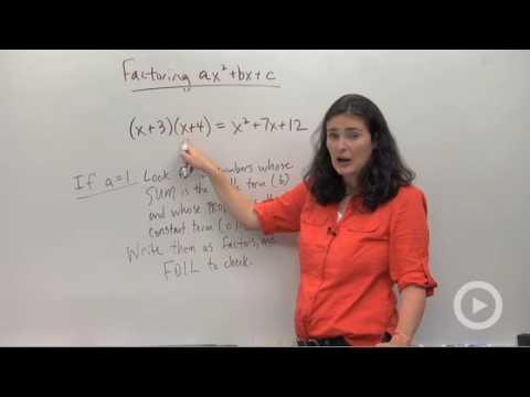 Algebra - Factoring Trinomials, a = 1