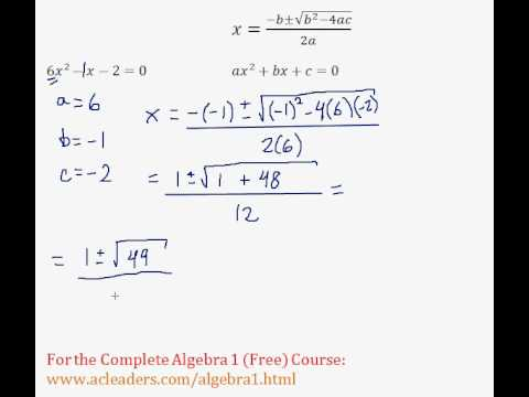(Algebra 1) Quadratics - Quadratic Formula Pt. 6