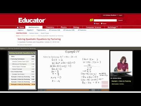 Algebra 2: Solving Quadratic Equations by Factoring
