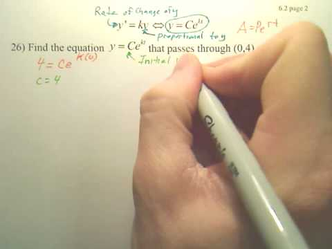 6.2b2 Differential Equations Growth and Decay - Calculus