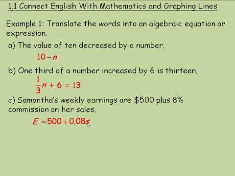 Connect English With Mathematics and Graphing Lines Part 1