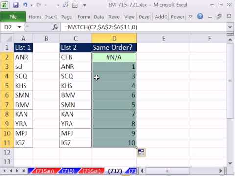 Excel Magic Trick 717: List 2 Same Order as List 2? MATCH and ROWS functions