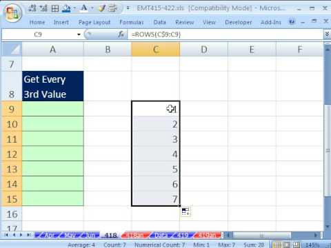 Excel Magic Trick 418: Reference Every Third Value